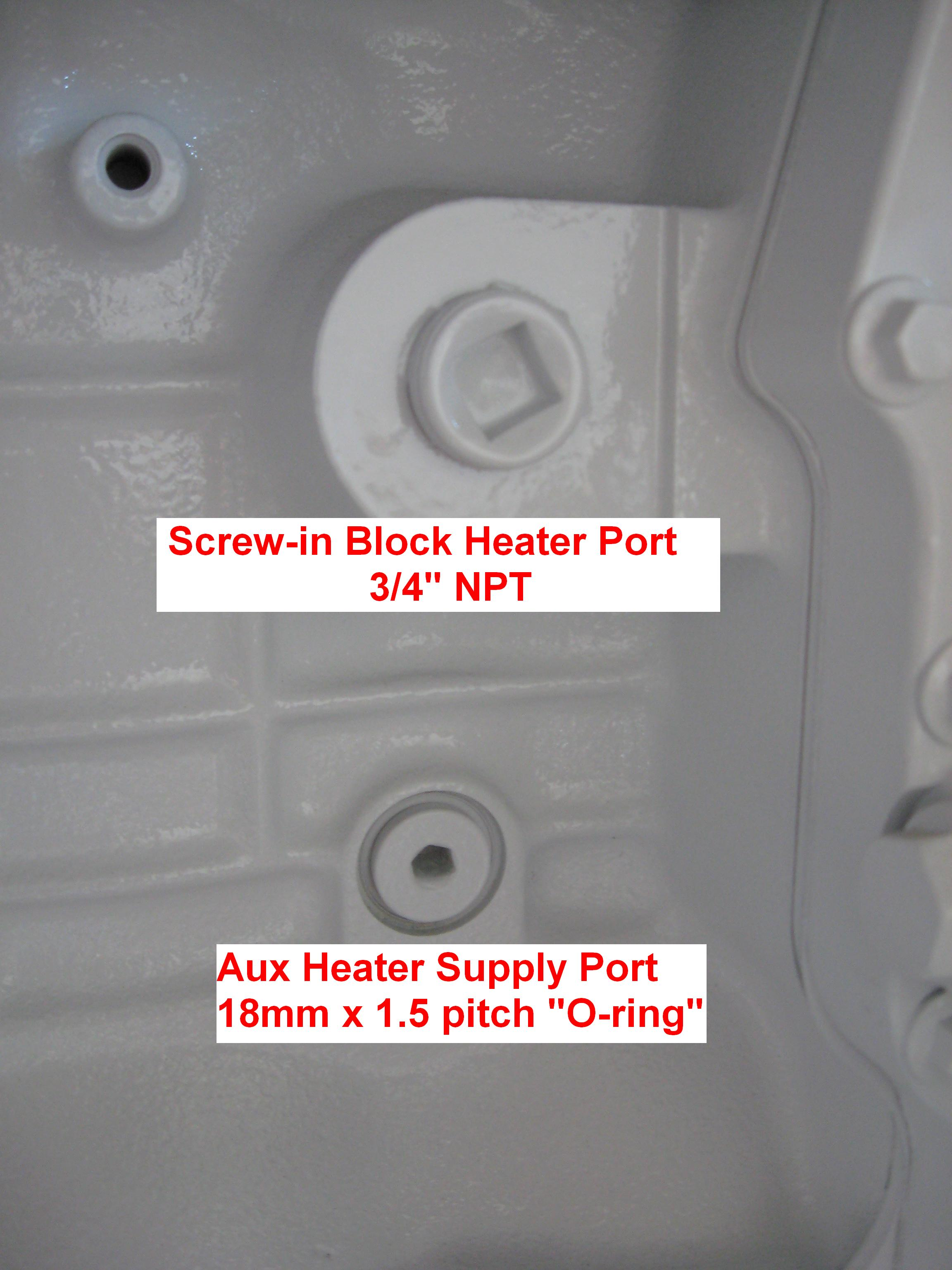 Screw In Immersion Type Block Heater Ports